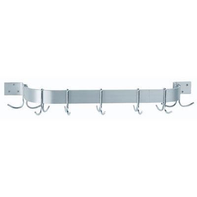 "Advance Tabco ALW-36 36"" Wall Mount Pot Rack - Single Bar Design, 6-Double Hooks, Aluminum"