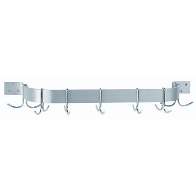 "Advance Tabco ALW-48 48"" Wall-Mount Pot Rack w/ (9) Double Hooks, Aluminum"