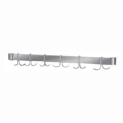 """Advance Tabco AUR-96 96"""" Adjustable Table Mount Utensil Rack - 9-Pot Hooks, Stainless"""