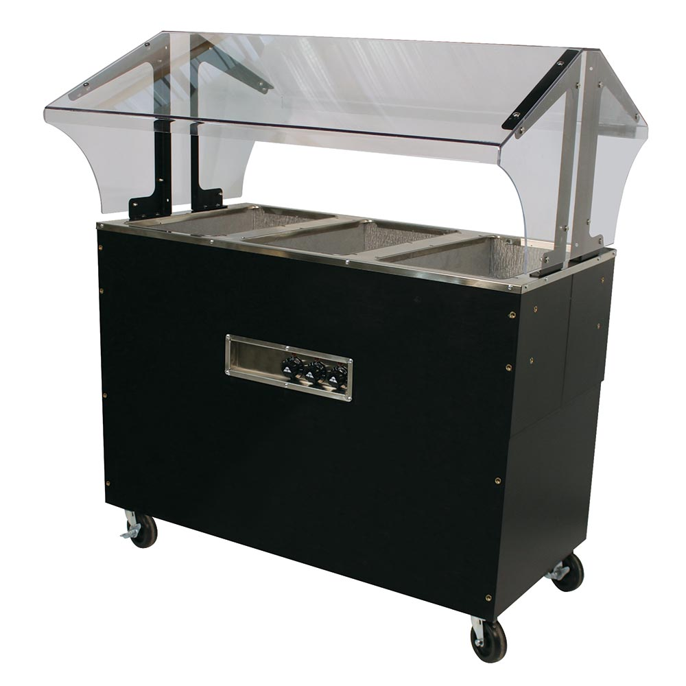 Advance Tabco B3-120-B-S-SB Portable Hot Food Buffet Table w/ Solid Base & 3-Stainless Wells, 120 V