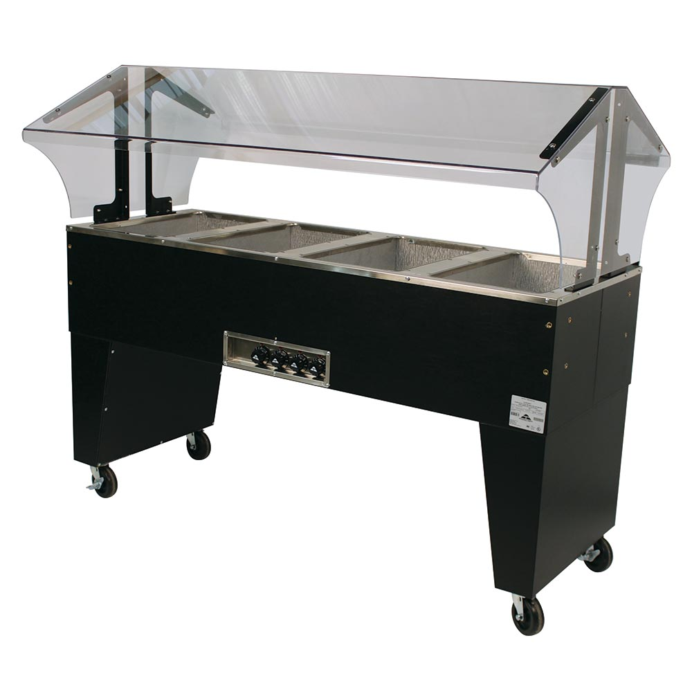 Advance Tabco B4-120-B-S Portable Hot Food Buffet Table w/ Open Base & 4-Stainless Wells, 120 V