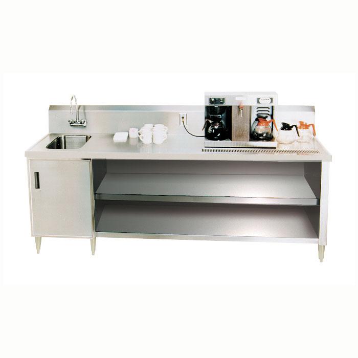 "Advance Tabco BEV-30-60L 60"" Beverage Table - Left Side Sink, Faucet, 14-ga 304-Stainless"