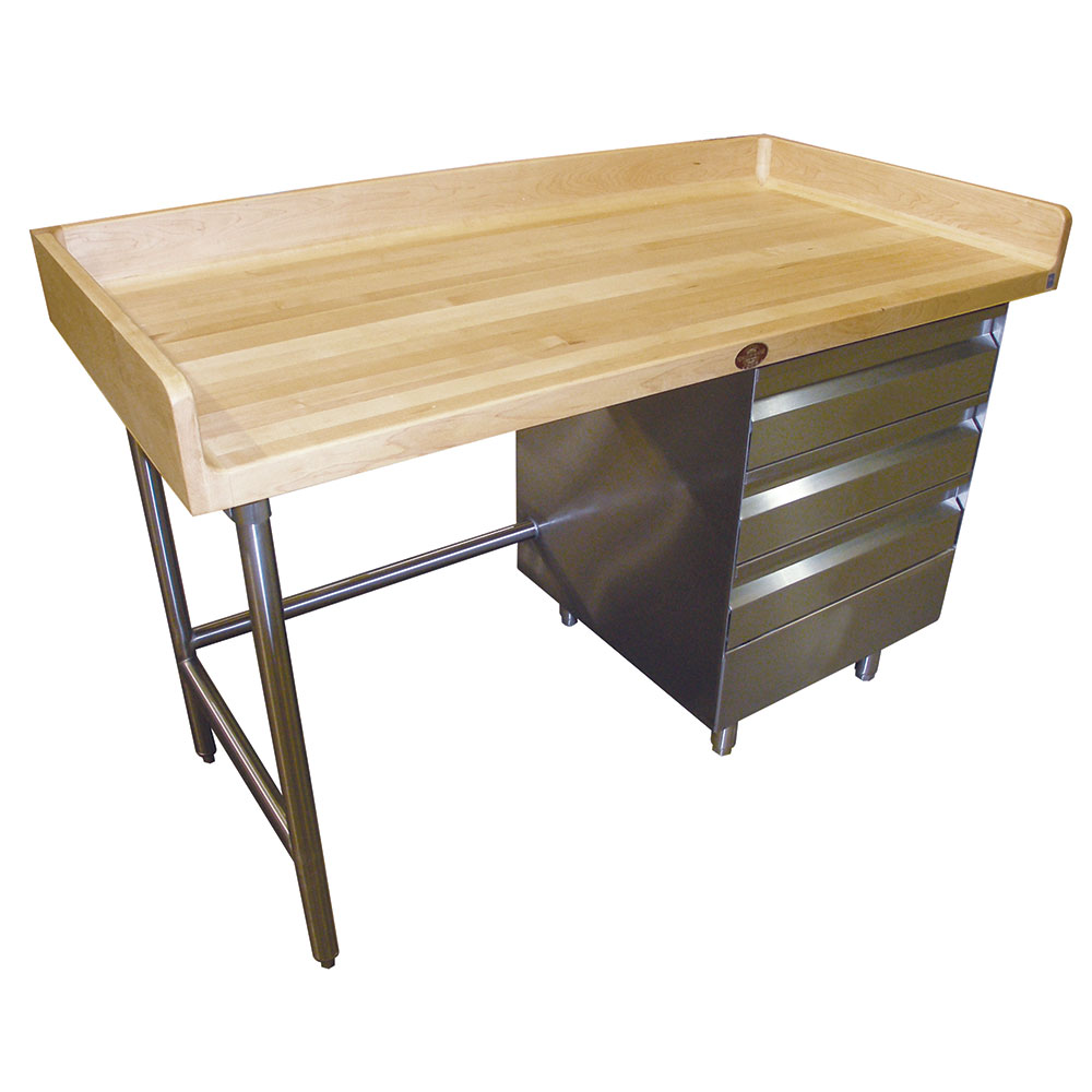 "Advance Tabco BGT-368 96"" Maple Top Bakers Table w/ 4"" Splash & (3) Right-Side Drawers, 36""D"