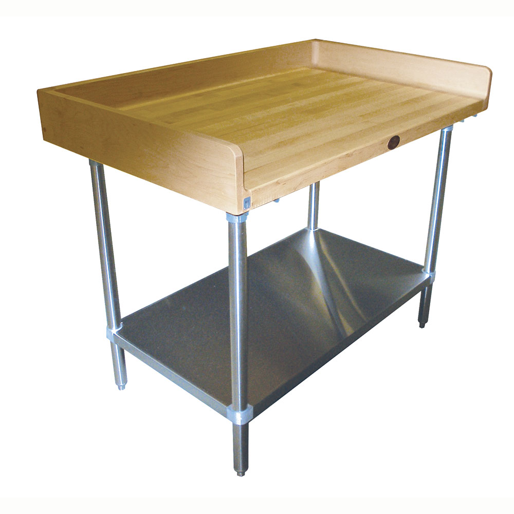 "Advance Tabco BS-304 48"" Maple Top Bakers Table w/ 4"" Splash & Undershelf, 30""D"
