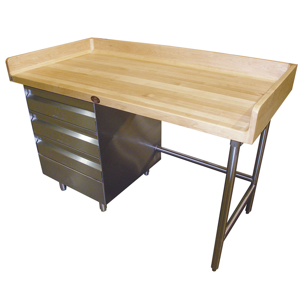 "Advance Tabco BST-304 48"" Maple Top Bakers Table w/ 4"" Splash & (3) Left-Side Drawers, 30""D"