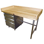 "Advance Tabco BST-365 Bakers Top Work Table - 4"" Splash, 3-Drawers Tiers, Bullet Feet, 36x60"
