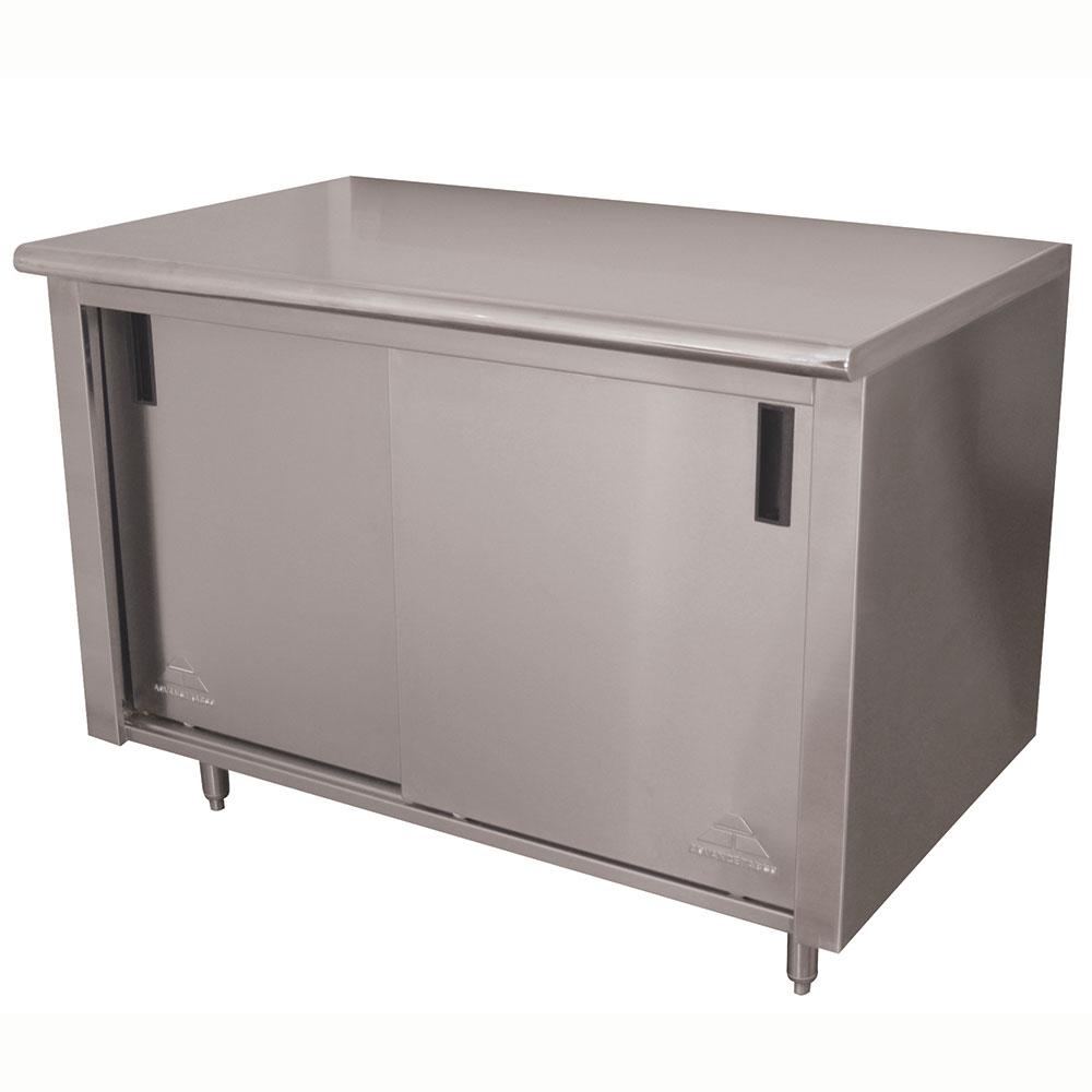 "Advance Tabco CB-SS-244M 48"" Enclosed Work Table w/ Sliding Doors & Midshelf, 24""D"