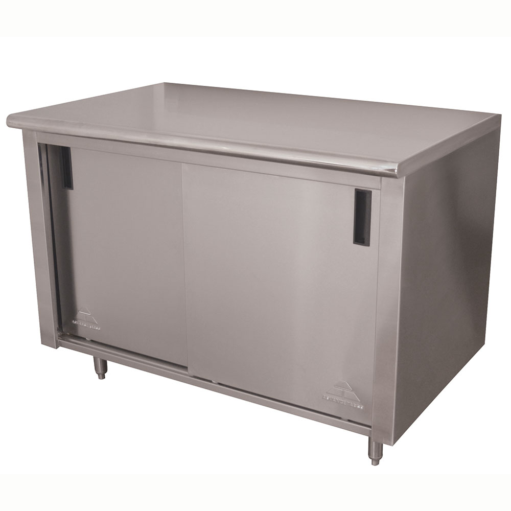 "Advance Tabco CB-SS-306M 72"" Enclosed Work Table w/ Sliding Doors & Midshelf, 30""D"
