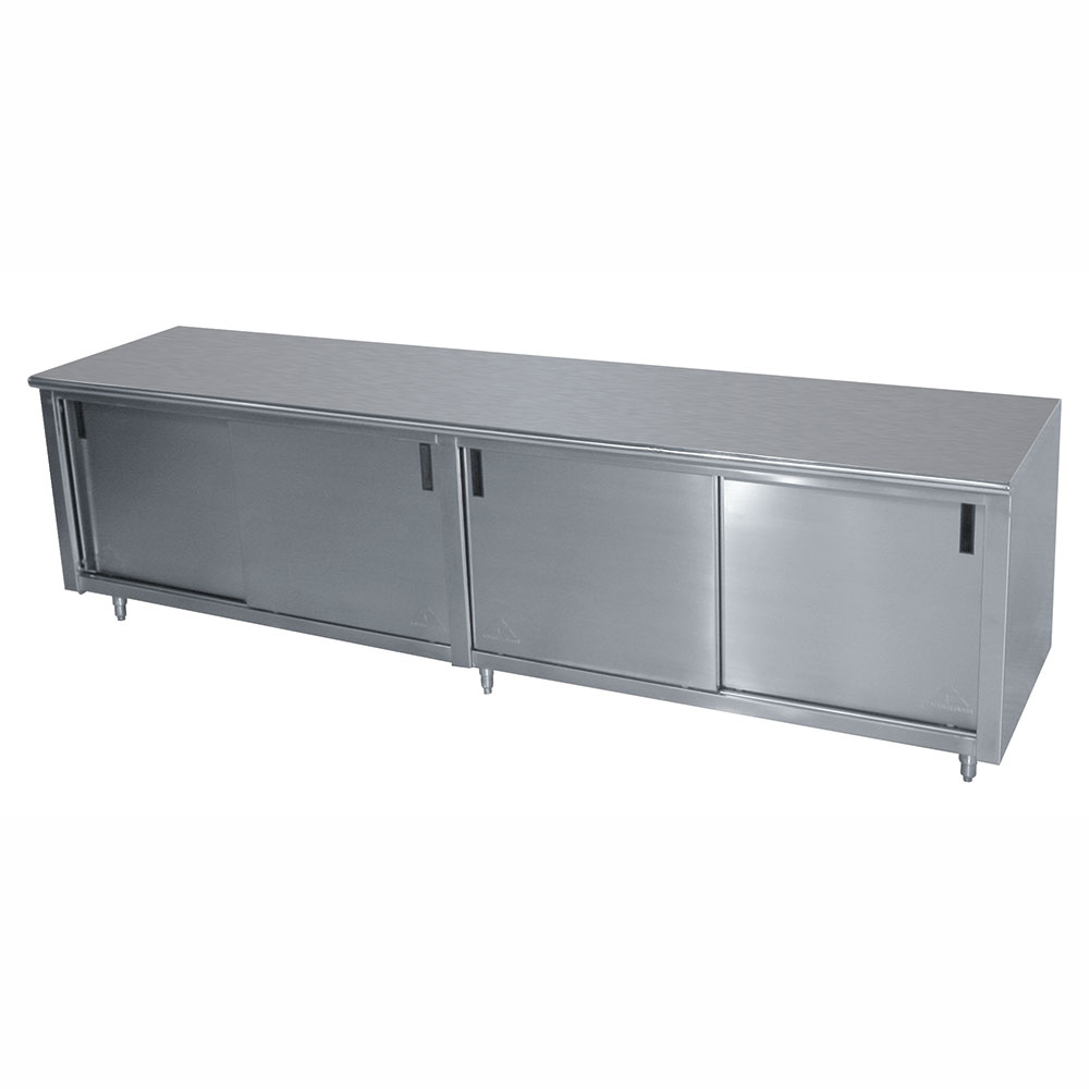 "Advance Tabco CB-SS-309M 108"" Enclosed Work Table w/ Sliding Doors & Midshelf, 30""D"