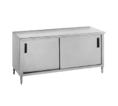 Advance Tabco CB-SS-247M 84-in Work Table Cabinet Base w/ Midshelf 24-in Wide 14-Ga. Stainless Restaurant Supply