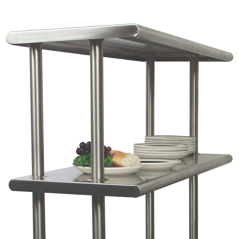 "Advance Tabco CDS-18-84 Adjustable Double Overshelf, 18""W x 84 L, 6"" Overhang On 1 Side"