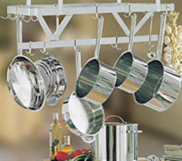 Advance Tabco SC-36RE Residential Stainless Steel Ceiling Mounted Pot Rack 18 Hook 36 in x 22 in Restaurant Supply