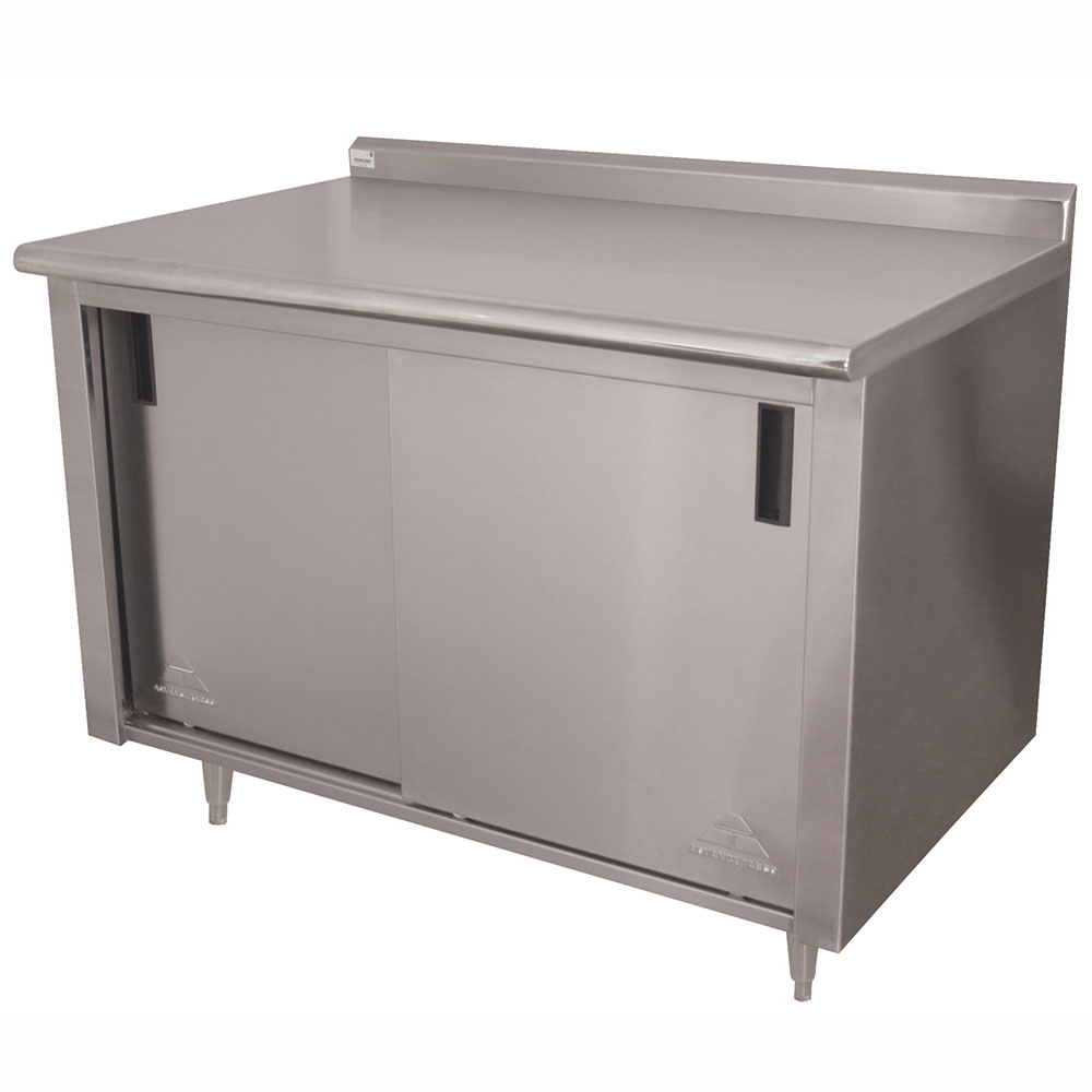 "Advance Tabco CF-SS-304 48"" Enclosed Work Table w/ Sliding Doors & 1.5"" Backsplash, 30""D"