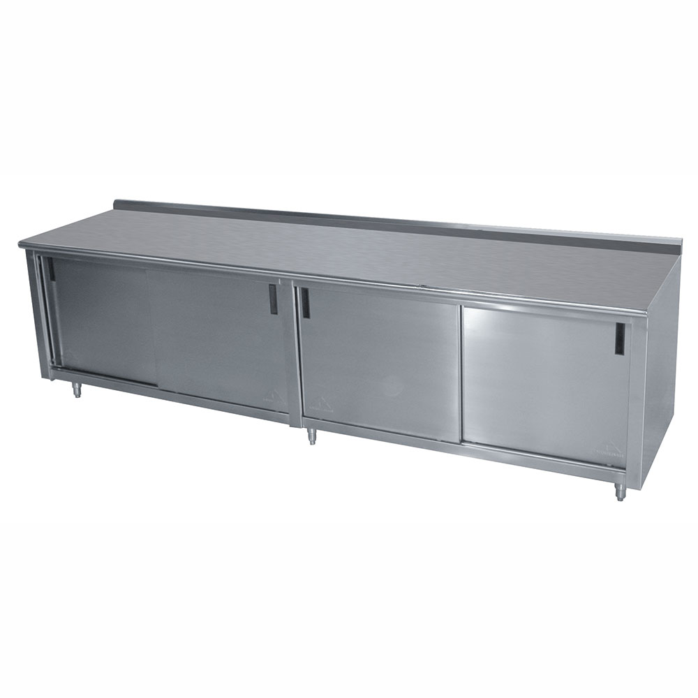 "Advance Tabco CF-SS-309M 108"" Work Table - Cabinet Base, Sliding Doors, Raised Rear Edge, Midshelf, 30"" W"