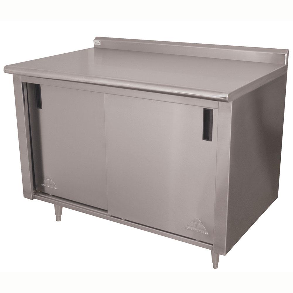 "Advance Tabco CF-SS-365 60"" Work Table - Cabinet Base, Sliding Doors, Raised Rear Edge, 36"" W"
