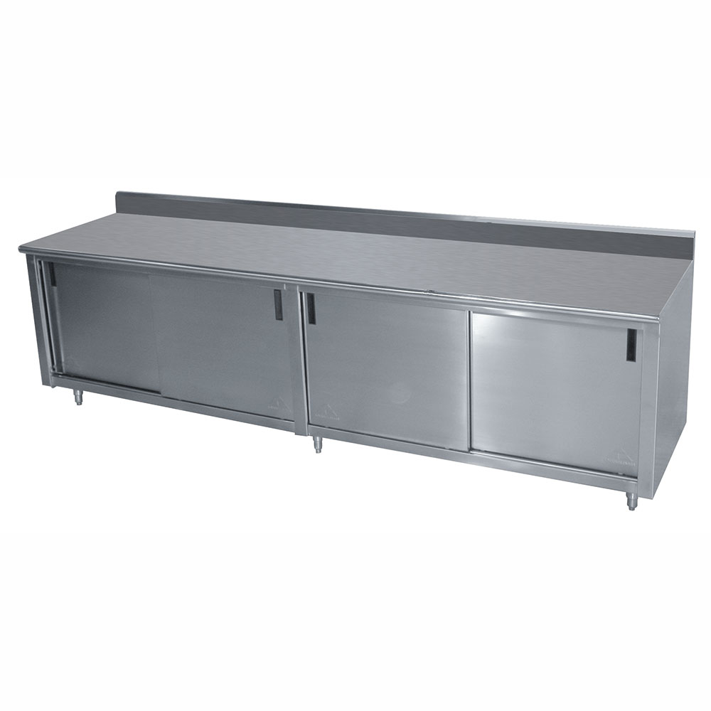 "Advance Tabco CK-SS-308 96"" Work Table - Cabinet Base, Sliding Doors, 5"" Backsplash, 30"" W"