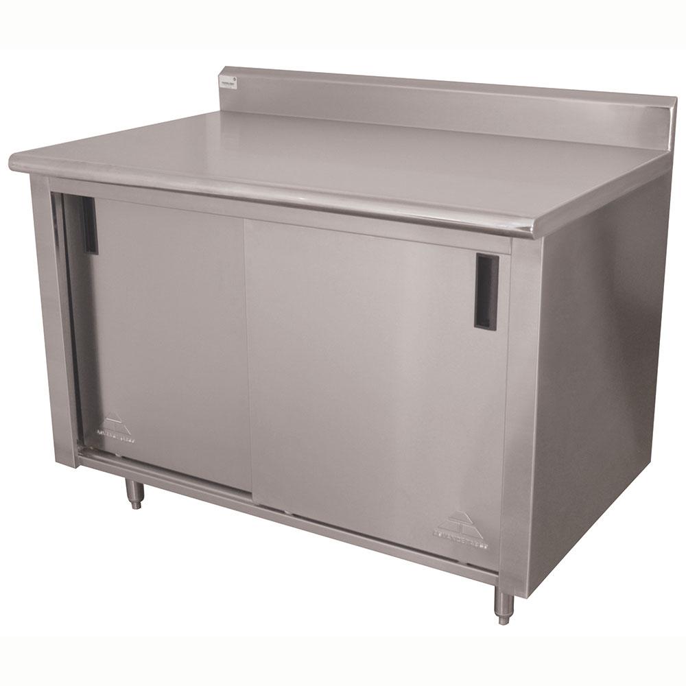 "Advance Tabco CK-SS-364M 48"" Enclosed Work Table w/ Sliding Doors & Midshelf, 5"" Backsplash, 36""D"
