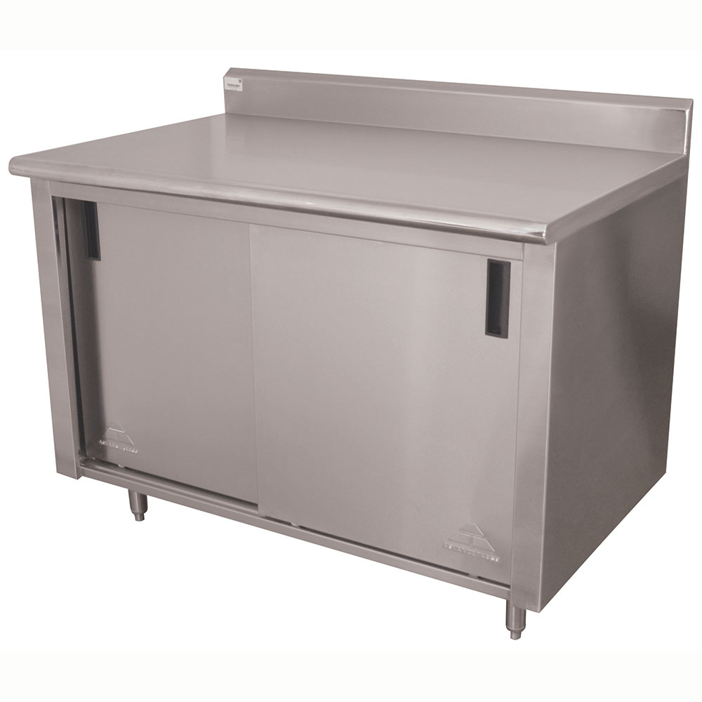 "Advance Tabco CK-SS-366 72"" Enclosed Work Table w/ Sliding Doors & 5"" Backsplash, 36""D"