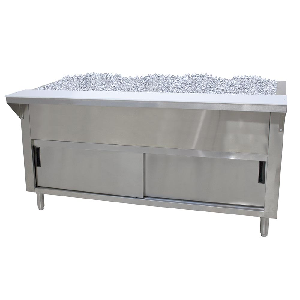 "Advance Tabco CPU-2-DR 34"" Cold Pan Table, Cabinet Base w/ Sliding Doors, 31-13/16"" Long"