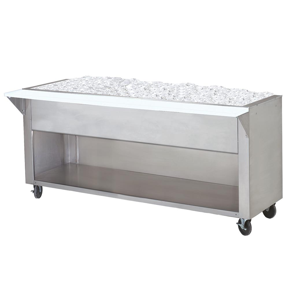 """Advance Tabco CPU-5-BS 34"""" Cold Pan Table, Cabinet Base w/ Open Undershelf, 77-9/12"""" Long"""