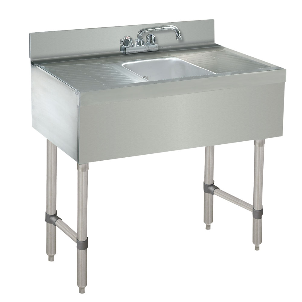 """Advance Tabco CRB-31C-X 24"""" Underbar Work Board 1-Sink Compartment Unit w/ Deck Mounted Faucet"""