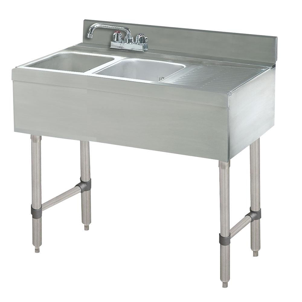"""Advance Tabco CRB32R 36"""" 2-Compartment Sink w/ 10""""L x 14""""W Bowl, 10"""" Deep"""