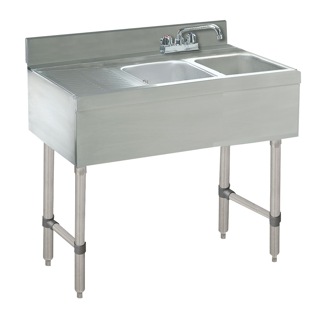 "Advance Tabco CRB-42L 48"" 2-Compartment Sink w/ 10""L x 14""W Bowl, 10"" Deep"
