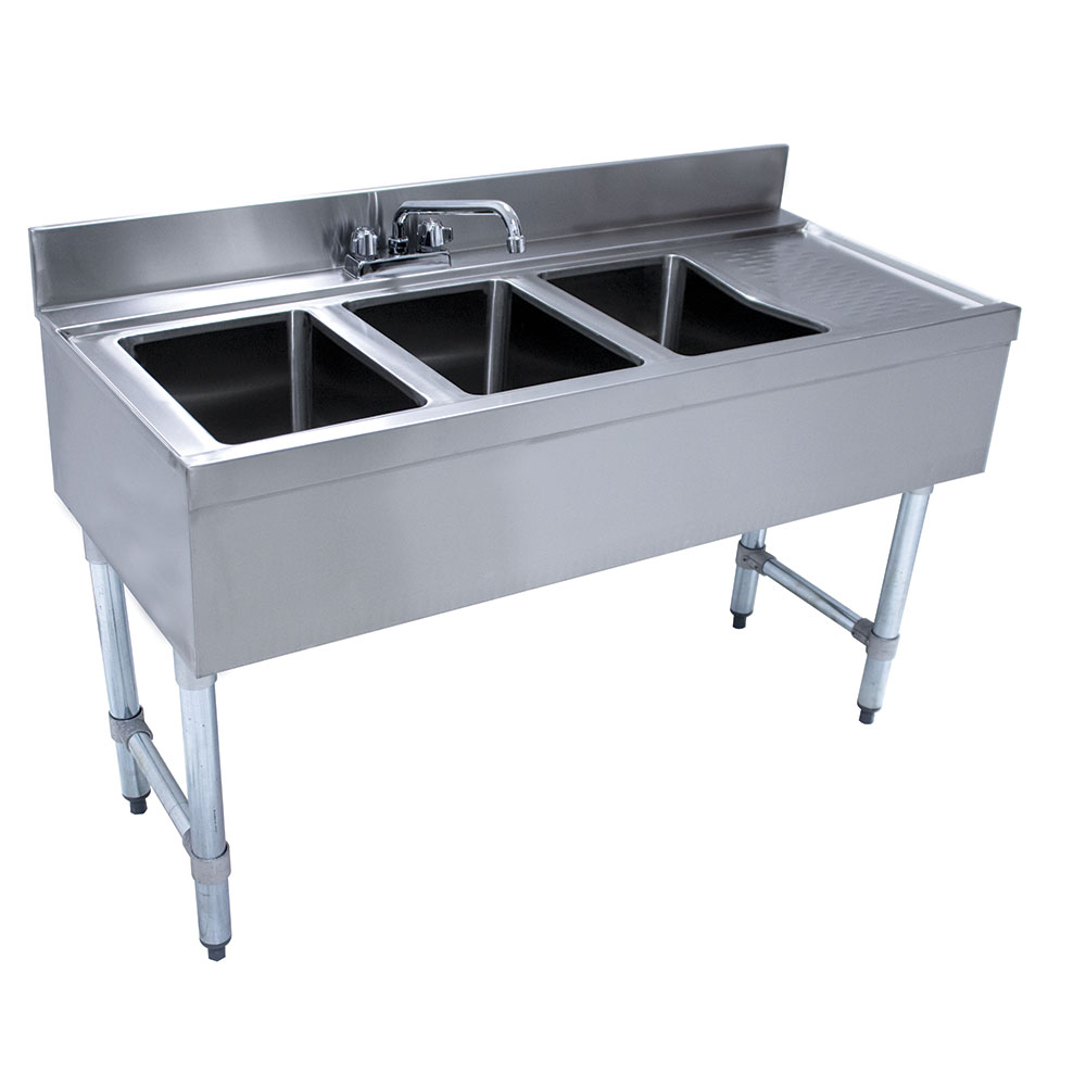Advance Tabco CRB-43L-X 48-in Underbar Work Board Sink Unit w/ 3-Compartments, Right Drainboard
