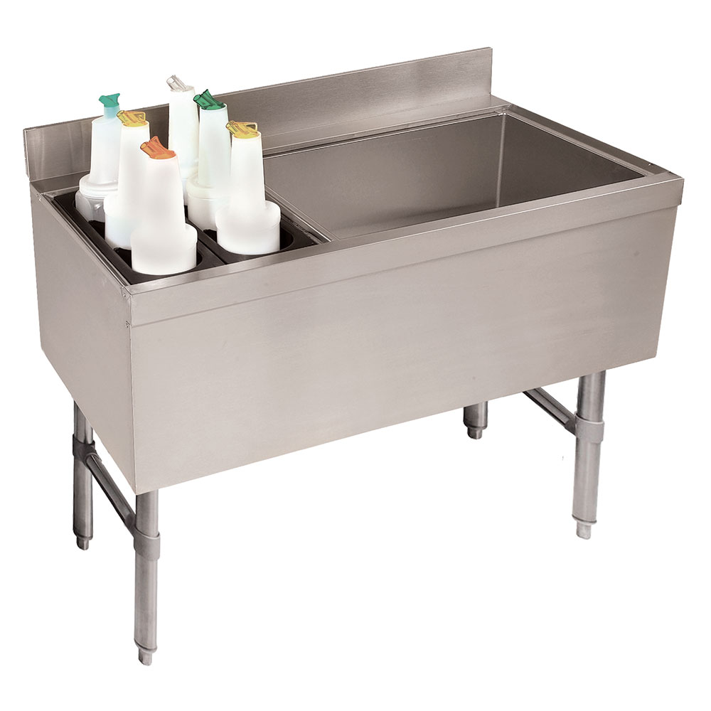 """Advance Tabco CRCI-48R-7 53"""" Ice Chest w/ Coldplate & Right Insulated Bottle Storage Rack"""