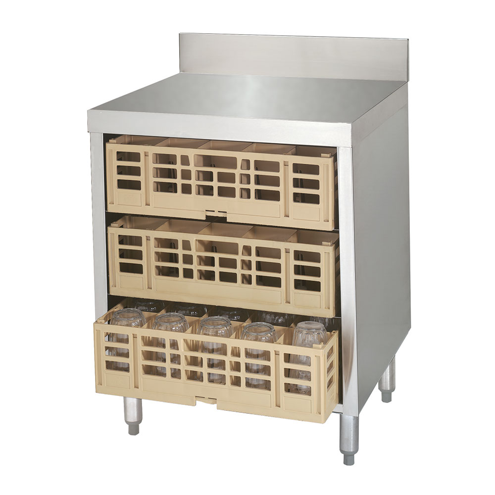"""Advance Tabco CRCR24 24"""" Closed Glass Rack Cabinet w/ Flat Top & 3-Pair Rack Glides"""