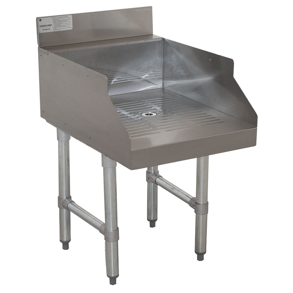 """Advance Tabco CR-GS-18 18"""" Underbar Add-On w/ Recessed Glass Storage Unit, 21"""" Front To Back"""