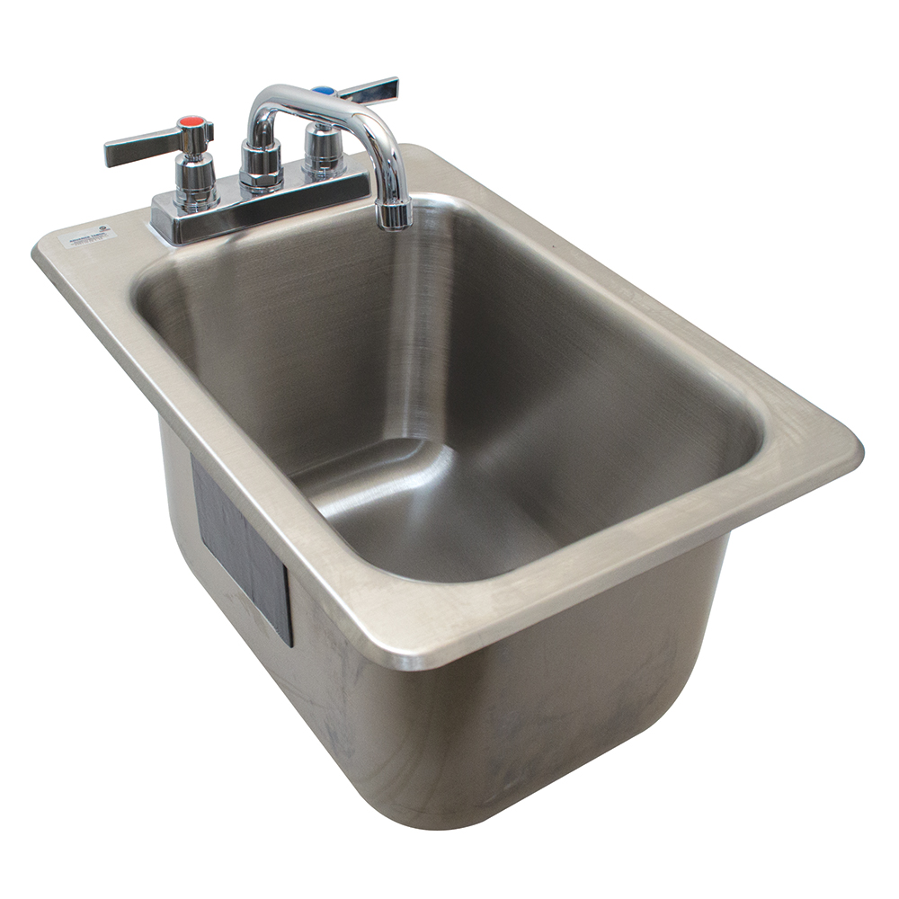 """Advance Tabco DBS-1 (1) Compartment Drop-in Sink - 12.3125"""" x 21.125"""", Drain Included"""