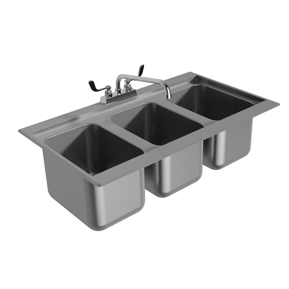 """Advance Tabco DBS-3 36"""" 3-Compartment Sink w/ 10""""L x 14""""W Bowl, 10"""" Deep"""