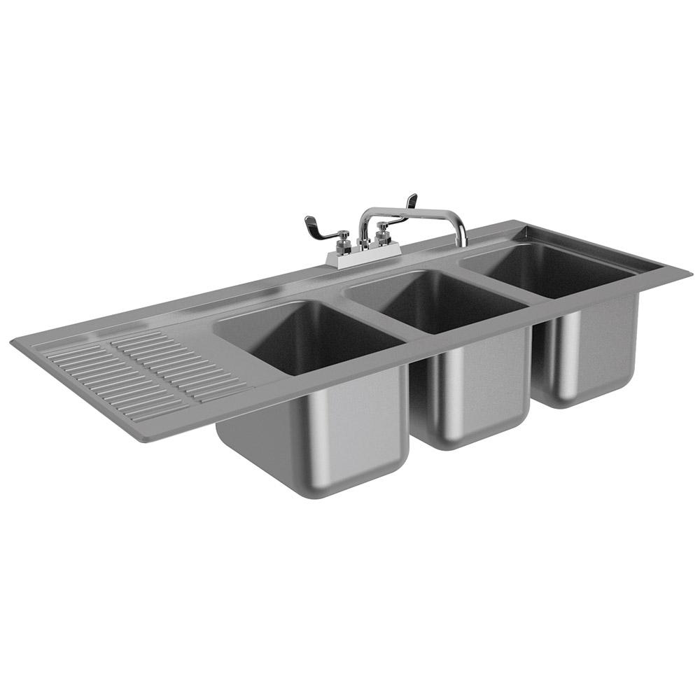 """Advance Tabco DBS-43L 48"""" 3-Compartment Sink w/ 10""""L x 14""""W Bowl, 10"""" Deep"""