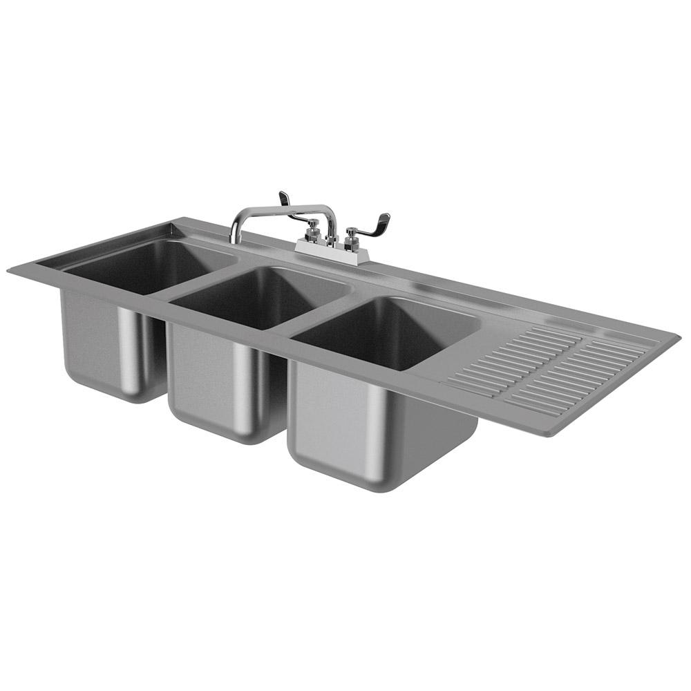 """Advance Tabco DBS-43R 48"""" 3-Compartment Sink w/ 10""""L x 14""""W Bowl, 10"""" Deep"""