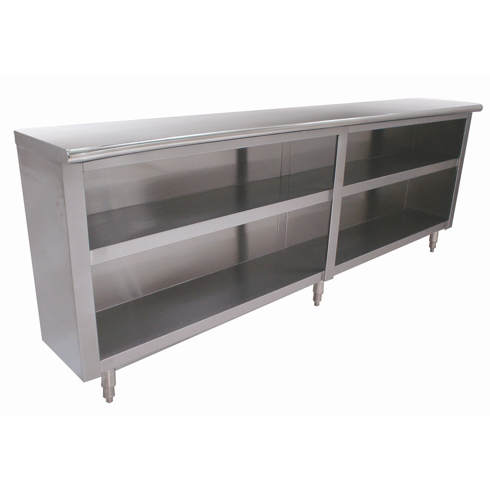"Advance Tabco DC-184 Chefs Table Dish Cabinet - Open Base, Midshelf, 48x18x35.5"" Stainless"