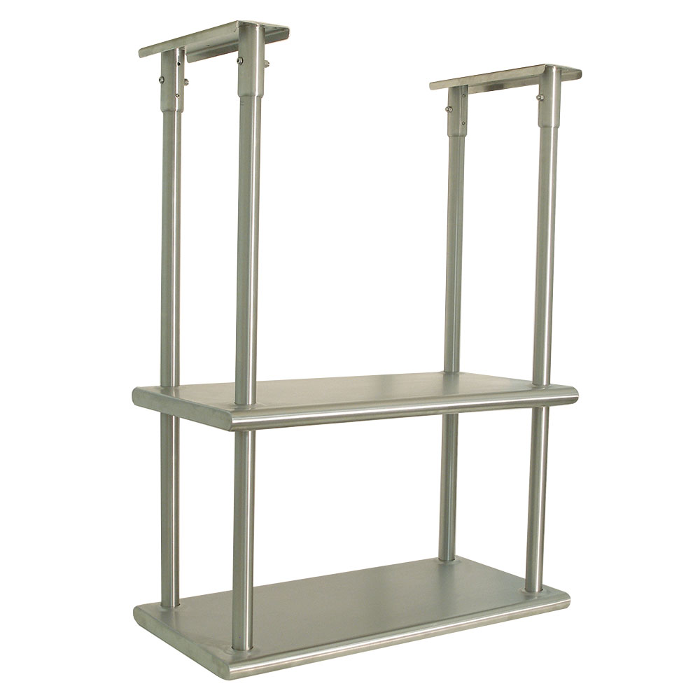 "Advance Tabco DCM-18-48 Ceiling Mount Shelf - Double Deck, 5-lb Load Capacity, 18x48"", Stainless"