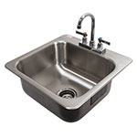 "Advance Tabco DI-1-168 Drop-In Sink - (1) 16x14x8"" Bowl, Deck Mount Gooseneck, 18-ga 304 Stainless"
