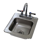 "Advance Tabco DI-1-25 Drop-In Sink - (1) 9x9x5"" Bowl, Deck Mount Gooseneck, 20-ga 304 Stainless"