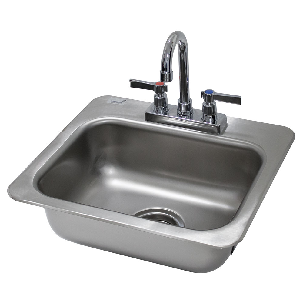 "Advance Tabco DI-1-35 Drop-In Sink - (1) 14x10x5"" Bowl, Deck Mount Gooseneck, 20-ga 304 Stainless"