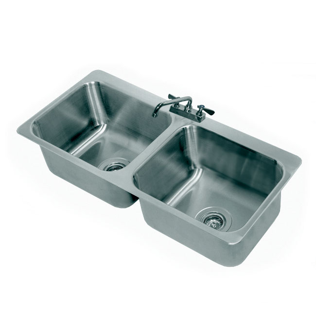 "Advance Tabco DI-2-2012 Drop-In Sink - (2) 20x16x12"" Bowl, Deck Mount Swing Spout, 18-ga 304 Stainless"