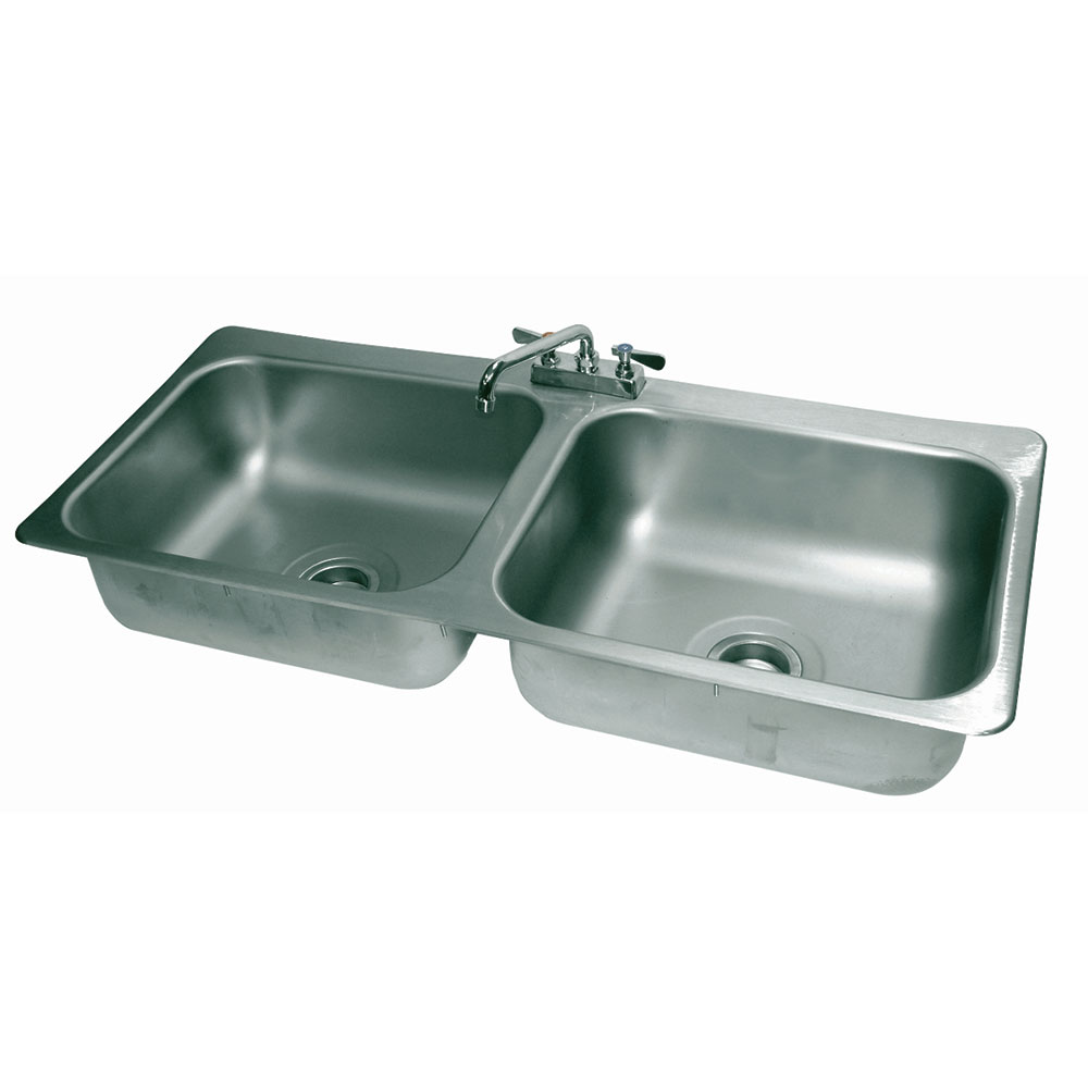 "Advance Tabco DI-2-208 (2) Compartment Drop-in Sink - 20"" x 16"", Drain Included"