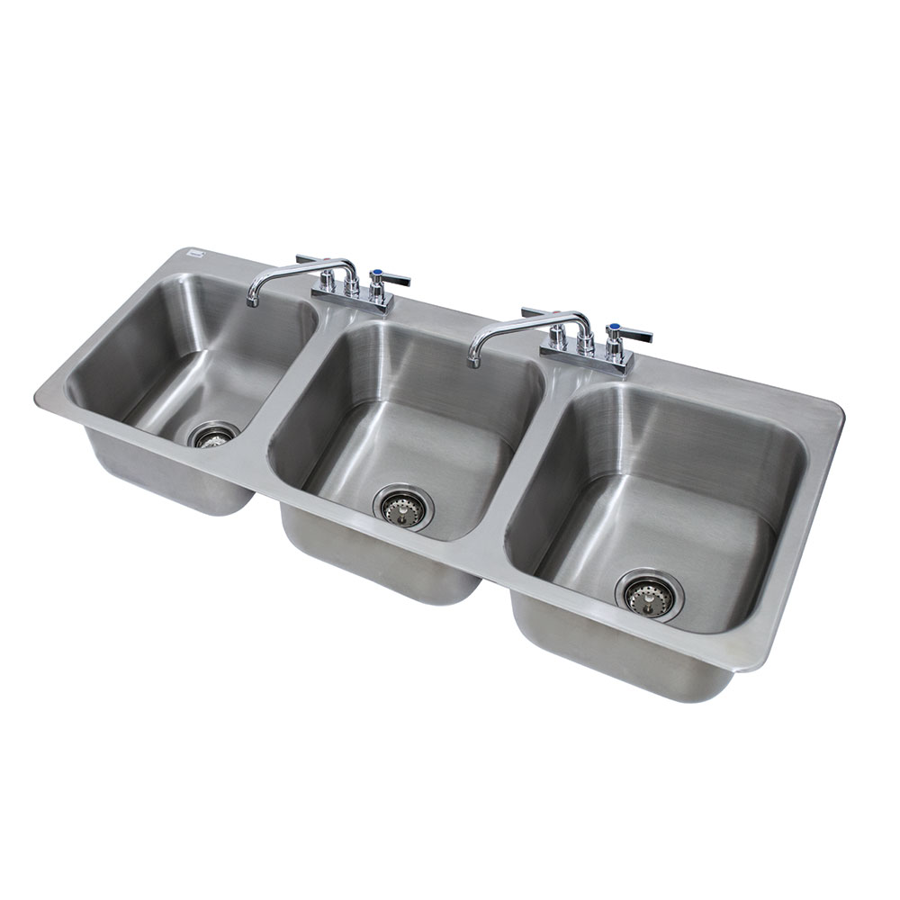"Advance Tabco DI-3-1410 (3) Compartment Drop-in Sink - 14"" x 16"", Drain Included"