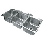 "Advance Tabco DI-3-1612 (3) Compartment Drop-in Sink - 16"" x 20"", Drain Included"