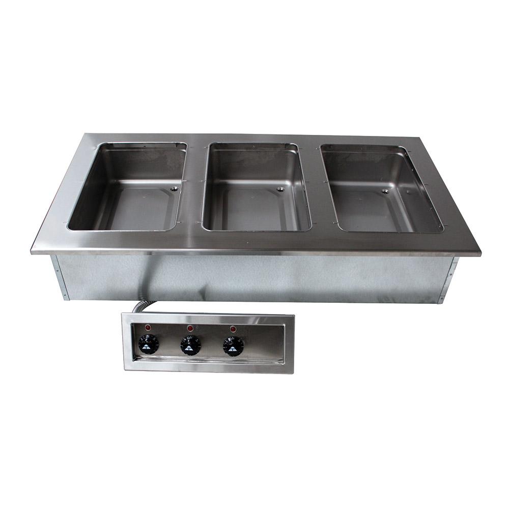 "Advance Tabco DISW-3-120 47-1/8"" Drop-In Hot Food 3-Well Unit w/ Infinite Controls, 120 V"