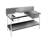 Advance Tabco DL-30-96 96-in Prep Table w/ (2) 16 x 20-in Sinks & Gooseneck Faucet