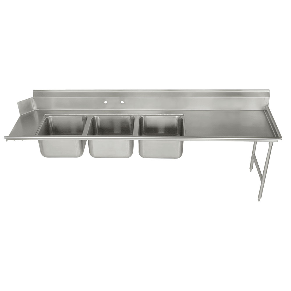"Advance Tabco DTC-3-2020-108R Dish Table - (3) 20x20x12"" Bowls, 27"" Right Drainboard, 16-ga 304-Stainless"