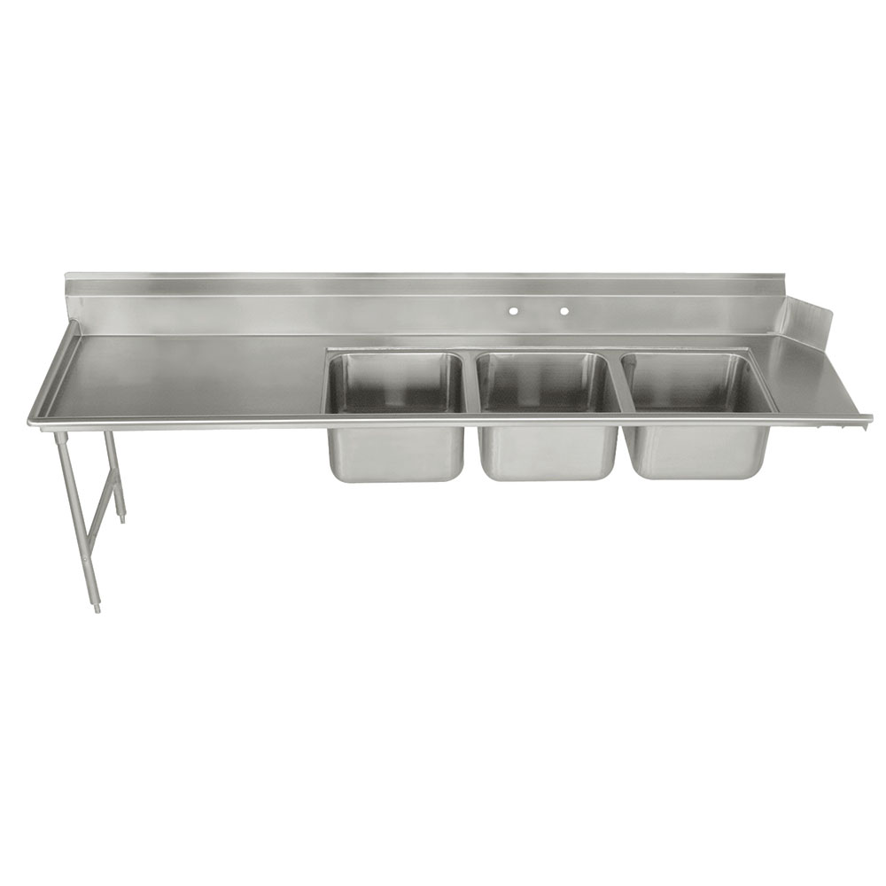 """Advance Tabco DTC-3-2020-96L Dish Table - (3) 20x20x12"""" Bowls, 15"""" Left Drainboard, 16-ga 304-Stainless"""