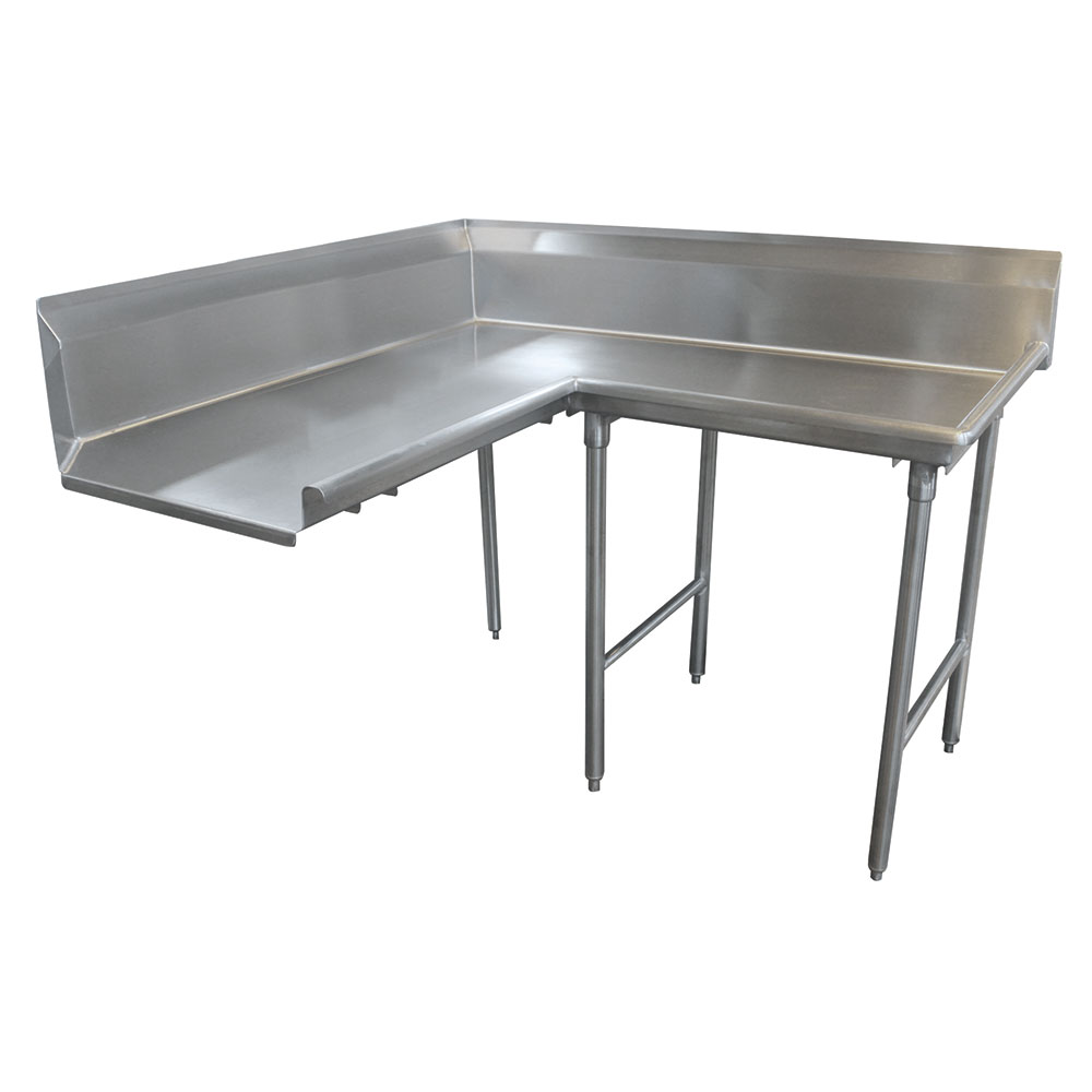 "Advance Tabco DTC-K30-144R 143"" Komer Clean Dishtable - L-Shape, Stainless Legs, L-R, 14-ga 304-Stainless"
