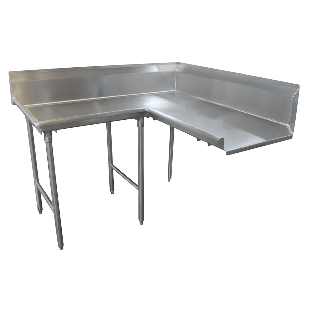 "Advance Tabco DTC-K30-72L 71"" Komer Clean Dishtable - L-Shape, Stainless Legs, R-L, 14-ga 304-Stainless"